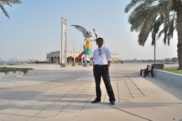 At Corniche - Doha (Oryx, Asian Games mascot at the background)