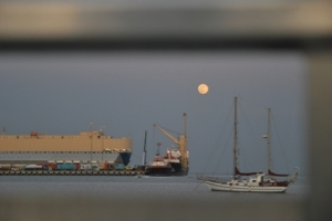 Full moon over Doha Port