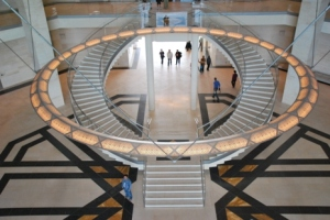 Curved twin staircase welcomes you at the atrium