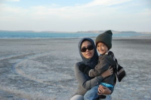 Fathan and his Bunda at Inland Sea