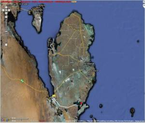Inland Sea Location (see small red dot at the bottom of Qatar)