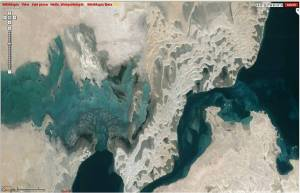 A close-up satellite view of Inland Sea