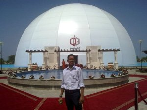 In front of Inauguration site - a purposedly made LNG tank-like dome