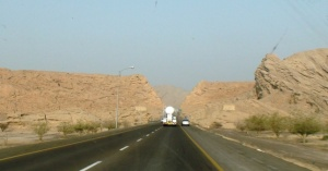 Road to Sohar from Al Ain. A short portion of the road is single carriageway.