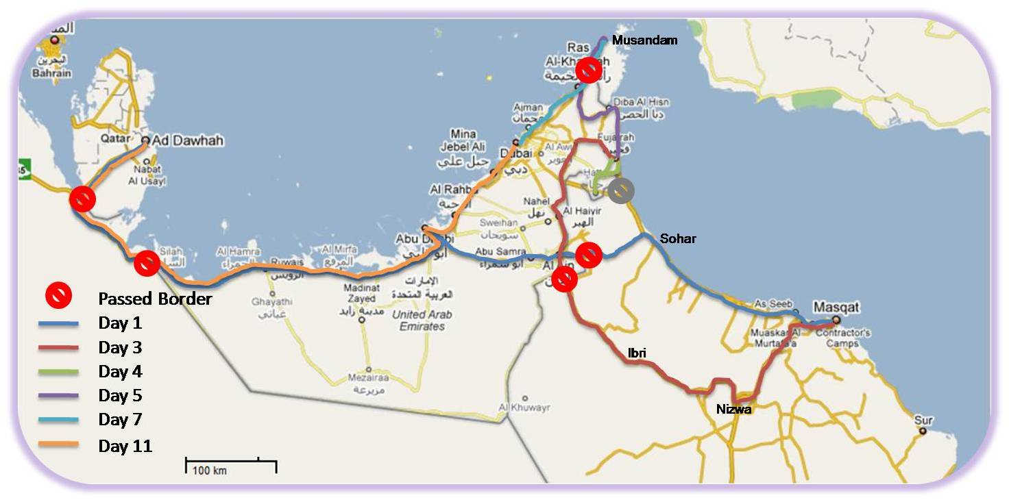 UAE Oman Trip Itinerary Distances CGKDOH