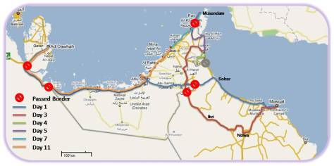 UAE & Oman Trip 2009 - Our Actual Driving Routes