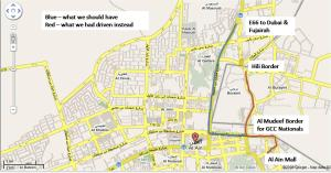 Al Ain borders. From where it all started. Now you know how stupid I am. For your lesson learned.