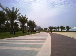 Abu Dhabi Corniche Beach (Ticket 5 Dhs per adult, only family allowed)