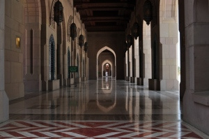 A corridor inside Sultan Qaboos Grand Mosque, Muscat
