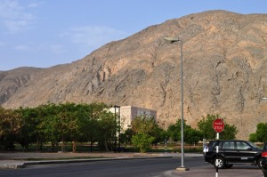 Rugged mountain view near Delmon Apartment on that first morning I was in Muscat
