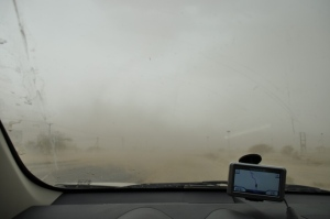 Stop due to sandstorm near Ibri, Oman. View from inside my car.