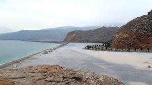 Khsab Public Beach. Seen from the top of cliff near Golden Tulip Resort