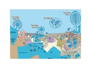A map showing the palm trilogy: Palm Jebel Ali, Palm Jumeirah and Palm Deira. Also shown The World. Not shown is The Universe planned to be built around the world. With global downturn projects are uncertain