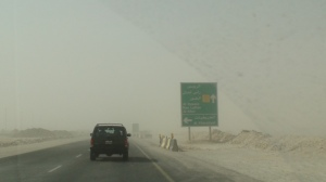 Some portions of Al Shamal Road are temporary roads while the main is being upgraded. Seen here dust storm in August 2009