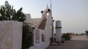 Exterior view of the mosque, showing staircase to minaret