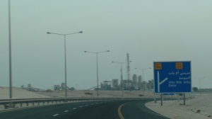 Umm Bab Cement Factory on the left