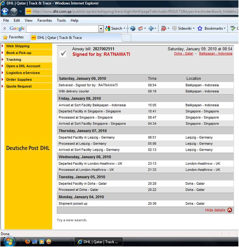 Strange dhl routing cgk doh - Singapore post office tracking number ...