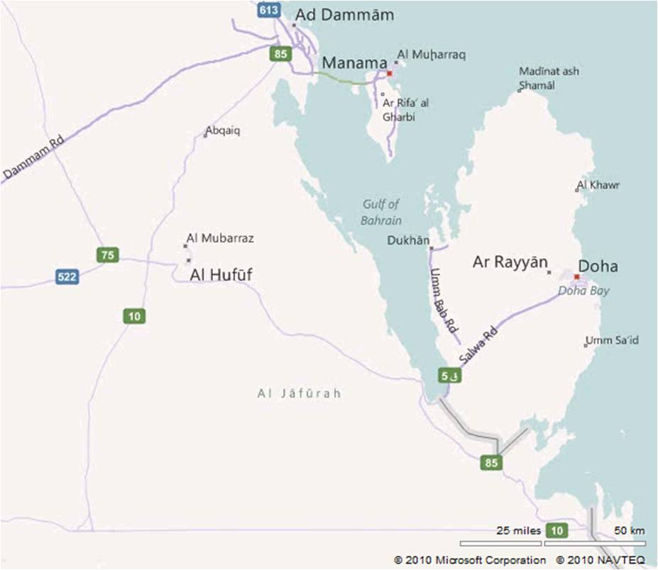map of qatar. Regional Map showing Qatar,
