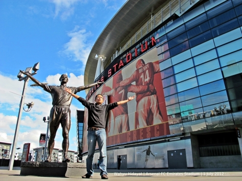 Arsenal's Emirates Stadium. With Tony Adams's statue
