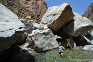 Immersed in clear water pools in Little Snake Canyon