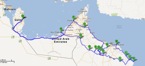 The 3,700km-route of Offroad Oman 2013