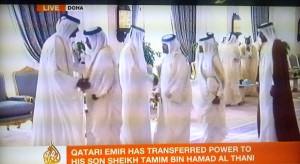 Countrymen greeted the former and new Emir and pledged their allegiance at Wajbah Palace