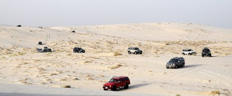 Lined up for dune bashing (photo by Rudy)
