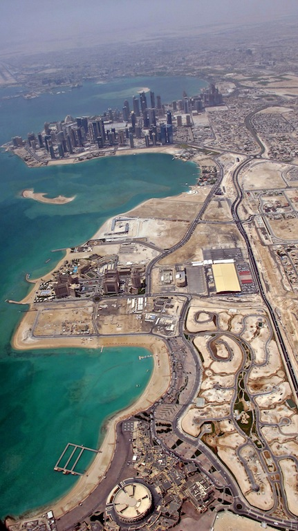 Love this! North-South view of Katara and West Bay and Corniche