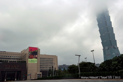 Taipei City Hall and Taipei 101 that is engulfed by cloud