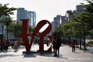 One of the art installation in front of the tower (LOVE by Robert Indiana)