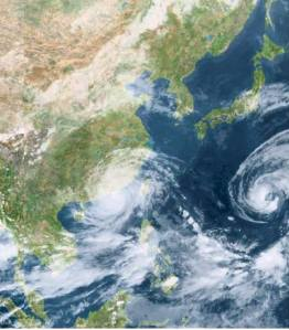 Double typhoons seen on this satellite image. On the left is Typhoon Usagi that has just passed Taiwan and about to land to China. On the right is Typhoon Pabuk that fortunately made a curve path to north avoiding Taiwan