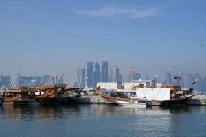Doha skyline with Dhow Harbor