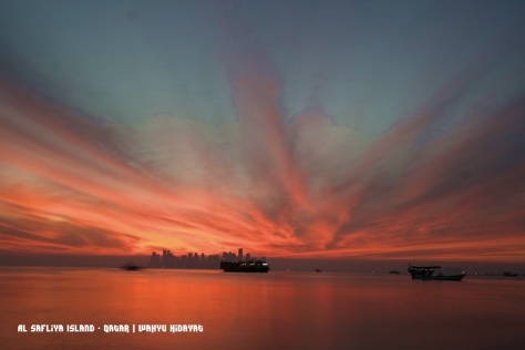 A stunning sunset with Doha skyline from Al Safliya Island