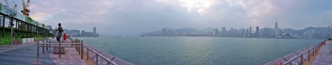 Panoramic view over Avenue of Stars and Hong Kong Bay