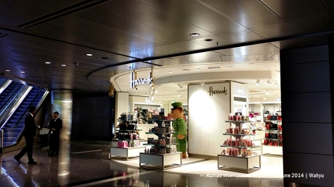 No need to go London for Harrods souvenirs. Located at the base of escalator from Premium Terminal Immigration, or turn right as you enter departure hall