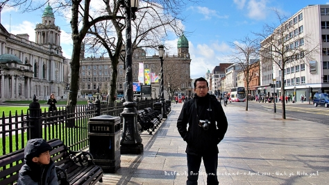In front of Belfast City Hall with Centra Donegal Square background
