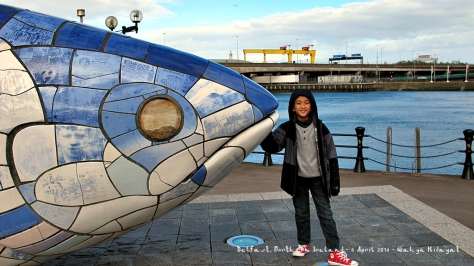 Fathan and The Big Fish, with Samson and Goliath Cranes and River Lagan (backgrounds)
