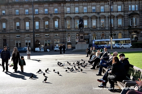 People enjoying sunshine at Glasgow Square