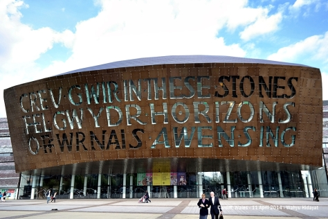 "Wales Millennium Centre - Cardiff Bay. Inscription on the centre exterior are: In these stones horizons sing, and ""Creu Gwir Fel Gwydr o Ffwrnais Awens"" which translate as Creating truth like glass from the furnace of inspiration"