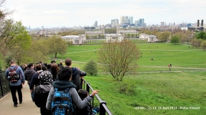 Walking down the steps from Royal Observatory Greenwich
