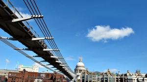 Millennium Bridge and St. Paul's Cathedral as a background