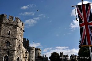 Plane flying over Windsor Castle