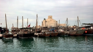 Passing through dhow harbour before sailing on Doha Bay