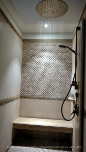 Rain shower is a nice feature in the bathroom. I wish its flow could be much stronger