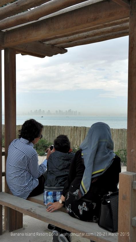 Enjoying Doha skyline from the island